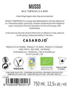 retro etichetta musso tempranillo 2017 casa rojo